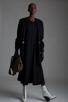Vintage Jean Paul Gaultier Coat, Y's Yohji Yamamoto Dress, Fendi Bucket Bag and cashmere gloves. Designer Clothing Dark Minimal Street Style Fashion