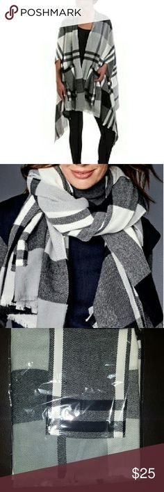 """NWT Plaid Cape / Scarf Convenient armholes allow you to wear as a chic cape or as a blanket scarf. And the best part of this must-have style? It has pockets!   100% Acrylic One size fits most 37"""" length 7"""" arm openings Two front pockets DSW Jackets & Coats Capes"""