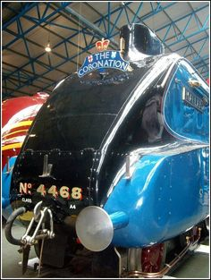 """National Railway Museum in York. The board's """"Coronation"""" """"Mallard"""" Number 4468 Mallard is London and North Eastern Railway Class A4 4-6-2 Pacific steam locomotive built at Doncaster, England in 1938."""