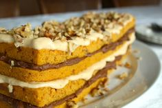 Layered Pumpkin Walnut Cake with Caramel and Chocolate Frostings