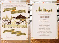 midcentury graphic design, woodland inspired, describes wedding weekend, neutral color palette