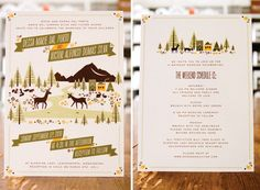 midcentury graphic design, woodland inspired, describes wedding weekend, neutral color palette
