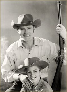 "THE RIFLEMAN (ABC-TV) Chuck Connors as ""Lucas McCain"" with Johnny _____ as ""Mark McCain"" - Series ran from 1958 to 1963."