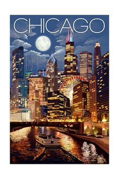Chicago, Illinois - Skyline at Night Art by Lantern Press - AllPosters.co.uk