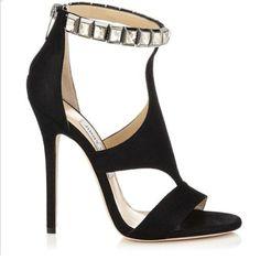 Jimmy Choo Halo Black Shimmer Suede Sandals with Crystals Black High Heel Sandals, Suede Sandals, Black Shoes, Heeled Sandals, High Heels, Shoes Sandals, Fab Shoes, Dream Shoes, Stilettos