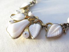 1940's Milk Glass Necklace.  So fancy!
