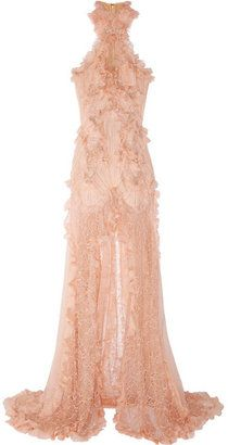 ShopStyle: Alexander McQueen Ruffled bead-embellished chiffon and lace gown...love this if it was white!