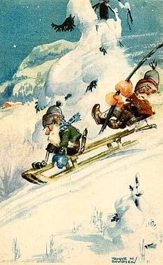 10675 A/S Trygve M. Davidsen Gnomes Sledding Down Hill Snow Series 2572 ~ Early in Collectibles, Postcards, Artist Signed House Illustration, Illustrations, Troll, Santa Paintings, Holly Hobbie, Sled, Vintage Postcards, Gnomes, Woodland