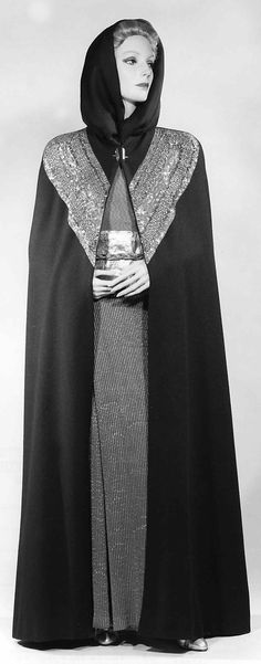Cape, Evening.  Elsa Schiaparelli (Italian, 1890–1973).  Manufacturer: House of Lesage (French, founded 1922). Date: spring 1937. Culture: French. Medium: wool, metal, silk. Dimensions: Length at CB: 59 in. (149.9 cm).