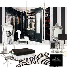 B+W Hollywood Glam Dressing Room ~Design Board by White Linen Interiors Shop at ProjectDecor.com