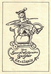 bookplate for Dr. Horst Wolfram Geifster depicts man in 18th century dress on back of winged horse holding quill pen under his arm like a lance