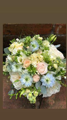 Roses, nigella , stocks, lisianthus, freesia , phlox Summer Wedding Bouquets, Nigella, Floral Wreath, Roses, Wreaths, Flowers, Decor, Floral Crown, Decoration