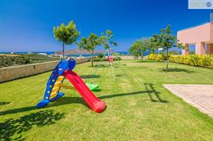 Garden play area with amazing views of the Cretan seas