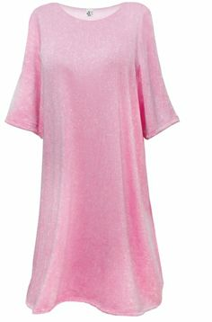 38beff4c4ff Light Pink With Silver Glimmer Lightweight Plus Size   Supersize Extra Long  Short Sleeve Sweater Shirt 4x