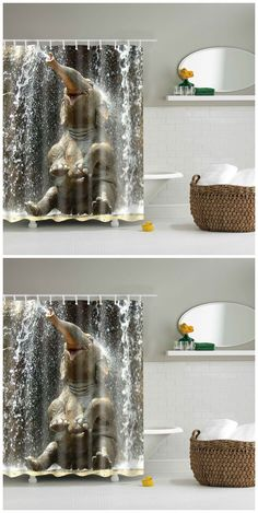 Charmant 3D Elephant Pattern Bathroom Waterproof Shower Curtain