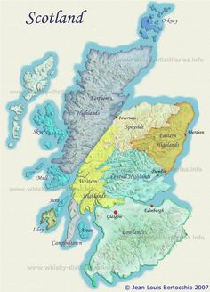 Map of Scotch Whisky Distilleries and Regions, Scotland