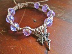 Fairy Goddess Woodland Pixie Nude Nymph Charm Macrame Hemp Bracelet, Glass Beaded with Purple Rondelle Beads. Boho Jewelry by JackZenHempWorks at www.jackzenhempworks.etsy.com