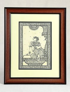 Buy Black Brown Framed Sitting Woman Pattachitra Painting on Silk 15in x 12in…