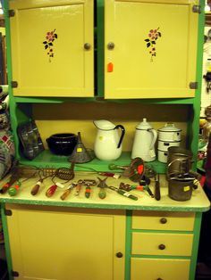yellow and green kitchen display