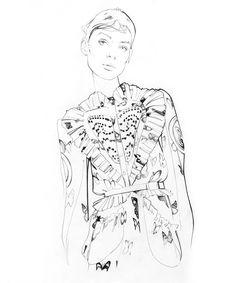 Givenchy fall/winter fashion illustration by Nuno DaCosta