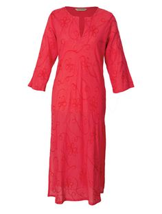 On SALE!  Ready for Smmer when it's just too hot for clothes! Embroidered Beach Kaftan in Coral - Fair Trade – House Of Mojo Australia