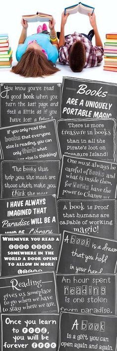 Quotes About Books and Reading, Set A: Posters (Chalkboard Theme) - 36 engaging quotes about books and reading from a diverse mix of authors, speakers, philosophers, e - Library Quotes, Library Posters, Library Books, Library Signs, Middle School Libraries, Elementary Library, Elementary Schools, Library Inspiration, Library Ideas
