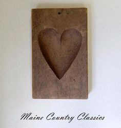 Vintage PRIMITIVE WOODEN MAPLE SUGAR MOLD Carved Heart #Country #Unknown