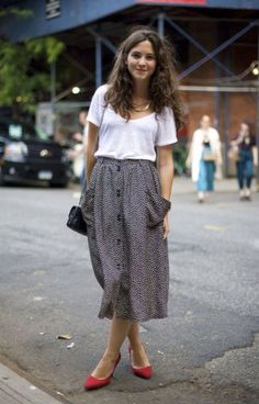 I need a nice white tee like this to wear with my long skirts!