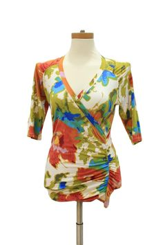 CAbi 309 Crossover Surplice Watercolor Ruched Sides Top Size S
