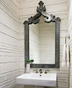 Suzie: Stunning powder room with walls covered in plaster and burlap fringe. Powder room ...