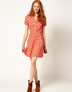 Enlarge Aimée by People Tree Organic Jersey Floral Shirt Dress