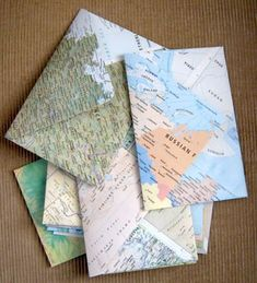 Envelopes from old maps! I've made envelopes before, but not from old maps. Envelope Diy, How To Make An Envelope, How To Make Envelopes, Map Crafts, Diy Papier, Ideias Diy, Old Maps, Snail Mail, Mail Art