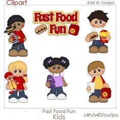 SCRAPBOOKING DIGITAL CLIPART  comida rápida niños por BoxerScraps
