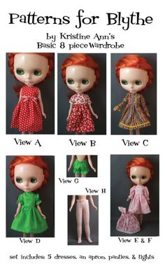 Basic Wardrobe Pattern for Blythe Dolls by KristineAnns on Etsy