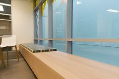 Navurban™ The Oaks - Agforce Office - Custom Bench Seating - Arkhefield Architects - Quadric - Industrial Arc Photography Built In Bench, Bench Seat, New Age, Office Interiors, Beautiful Homes, Industrial, Interior Design, Brisbane, Building