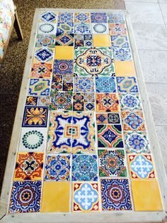Patchwork tiled coffee table.
