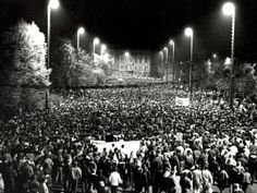 "October 9, 1989: ""The decisive event of the peaceful revolution was the large Monday demonstration on the 9th of October, 1989 in Leipzig [East Germany]. 70,000 demonstrators overcame their fears and faced the armed security forces with their chant ""We are the people"". The peaceful revolution could no longer be held back. With their courage, the people of Leipzig contributed greatly to the fall of the GDR regime."""