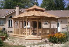 Building a hot tub gazebo will introduce you to great ideas to help you make decisions. Hot Tub Gazebo, Backyard Gazebo, Patio, Outdoor Gazebos, Outdoor Structures, Arbors, Large Gazebo, Tub Enclosures, Built In Bench