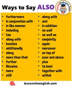 28 Ways to Say ALSO in English along with and in addition as well as well as con. Learn English Grammar, Learn English Words, English Phrases, English Language Learning, Spanish Language, Essay Writing Skills, Book Writing Tips, English Writing Skills, Writing Words