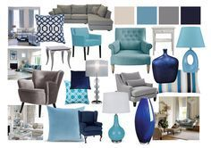 Grey and Blue Living Room Mood Boards by Amy Farrar, via Behance