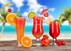 Cocktail - Summer, Orange, Ice, Strawberry, Lime, Tropical, Cocktail, Palm, Glass, Fruit