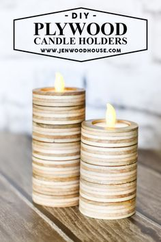 LOVE THIS! How to make DIY tea light candle holders out of scrap plywood.