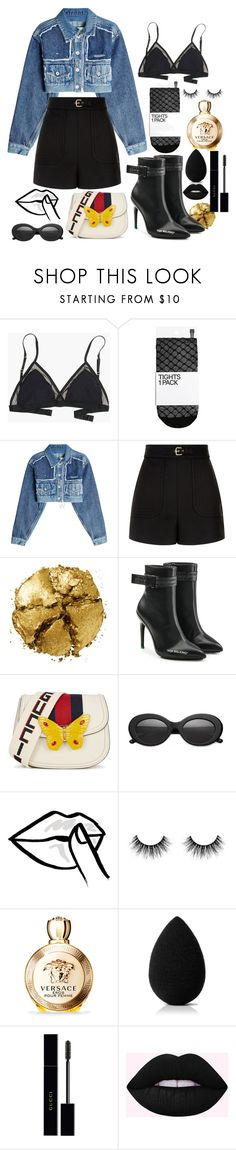 """Baddie in Black #1"" by kitaakitty ❤ liked on Polyvore featuring Madewell, H&M, Off-White, RED Valentino, Pat McGrath, Gucci, Crap, HUISHAN ZHANG, Versace and beautyblender"