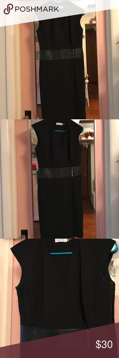 Calvin Klein Leather Dress Calvin Klein Black Belted Leather Dress in great condition!! Used only twice. Perfect for work and interviews! Calvin Klein Dresses