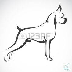 Vector image of an dog boxer on white background photo Boxer Dog Tattoo, Dog Tattoos, Rottweiler, Animal Line Drawings, Boxer Dog Breed, Handmade Dog Collars, Mountain Tattoo, Dog Silhouette, Dog Logo
