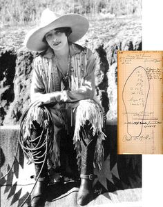 """Vera McGinnis,  circa 1920, photograph by Bone. Blucher Fitting Book, Volume 18, 1918   Vera McGinnis (1892-1990) was the first cowgirl to wear pants in the arena around 1925. Considering skirts and tight breeches as nuisances, McGinnis created a pair of trousers from a pair of little boys' flannel pants with a zipper on the side. She remarked, """"I like to wear them so then I can kick up my heels as I like."""""""
