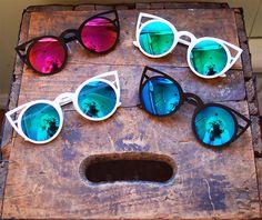 Oversized Gold Metal Round Cat Eye Sunglasses, Big Pointy Cateye Glasses - Selena