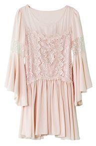 Light Pink Puff Sleeve Contrast Lace Chiffon Dress