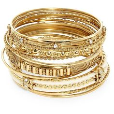 A.B.S. By Allen Schwartz Embellished Bangle Bracelet Set (€66) ❤ liked on Polyvore featuring jewelry, bracelets, accessories, gold, stacking bangles, hinged bangle, bangle jewelry, abs by allen schwartz and stackers jewelry