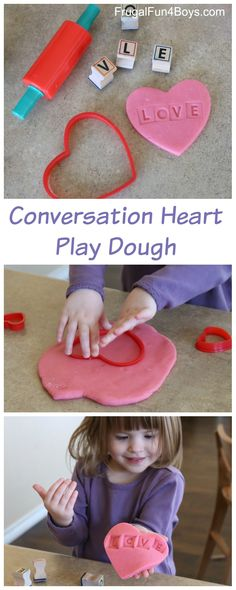 Valentine's Day Conversation Heart Play Dough - Fun fine motor and literacy activity!